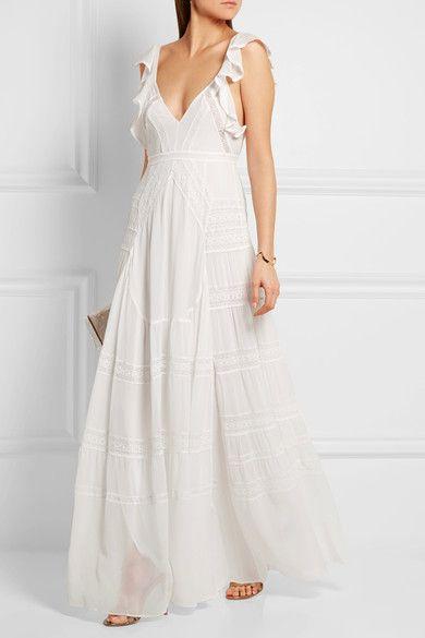 Needle & Thread - Bridal Lace-paneled Silk-crepe Gown - Ivory - UK10