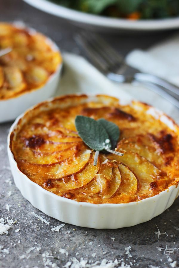 Individual Pumpkin and Potato Gratins with Gruyère and Sage - Cooking for Keeps