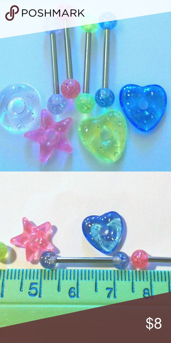 """4 Glitter Tongue Rings + Donut Lifesavers 316L Four glitter tongue rings plus glitter donut lifesavers. 14g.  5/8"""" length.  317L surgical steel.  Yellow pink blue silver colors. Includes all that you see! New, never worn. Jewelry"""