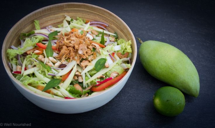This Asian Mango Salad recipe can be made with either green or regular mango and is so healthy and delicious. Also gluten free, dairy free, grain free, vegetarian and vegan.