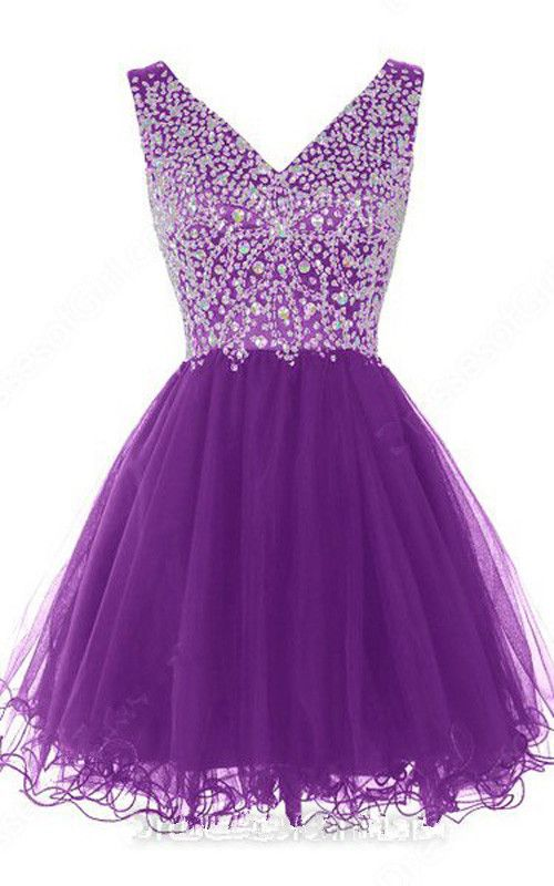 Purple Sleeveless Mini V Neck A Line Tulle Crystal Cascading Ruffles Short Homecoming Dress