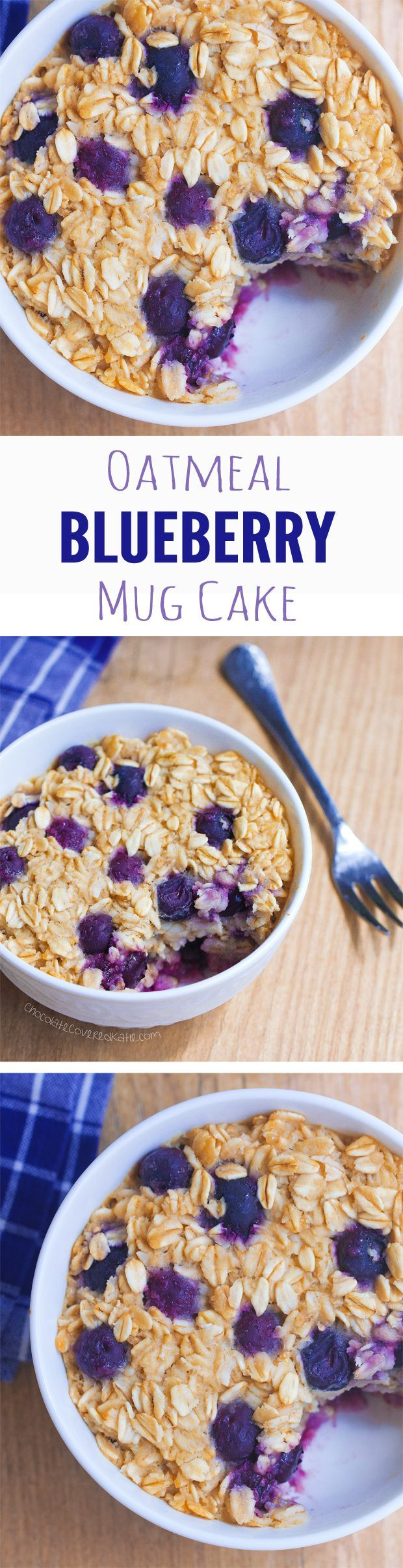 Blueberry Mug Cake - Ingredients: 1/2 cup rolled oats, 1/3 cup blueberries, 1 tsp vanilla extract, 1/2 tsp... Full recipe: http://chocolatecoveredkatie.com /choccoveredkt/
