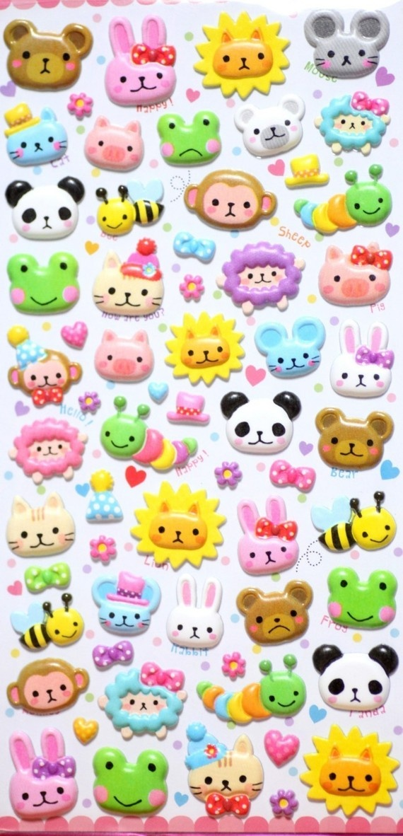 Kawaii Puffy Japanese Stickers by Mindwave seals