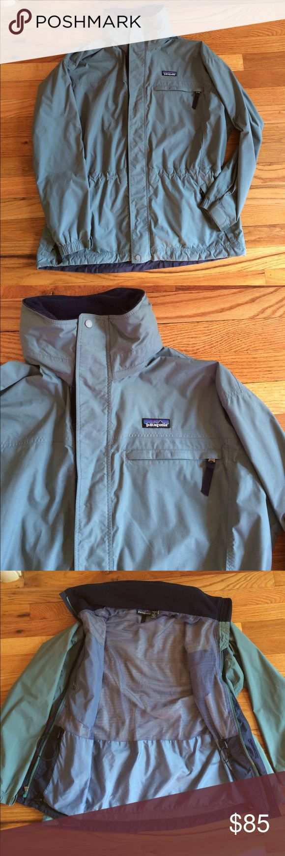 Lowest price🌸Rare Patagonia Parka This amazing women's Patagonia parka is multi functional and the perfect spring rain jacket for all your excursions! Features a stow away attached hood (in the neckline), water proof, hip and waist adjust for the perfect fit! This jacket is nice and long so easy to wear with leggings or work out gear! Worn sparingly with no flaws or defects! A rare find! Color is a dusty teal.size medium and true to size 8/10 Patagonia Jackets & Coats