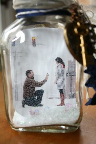 Engagement Photo Snow Globe #MosaicMagpie