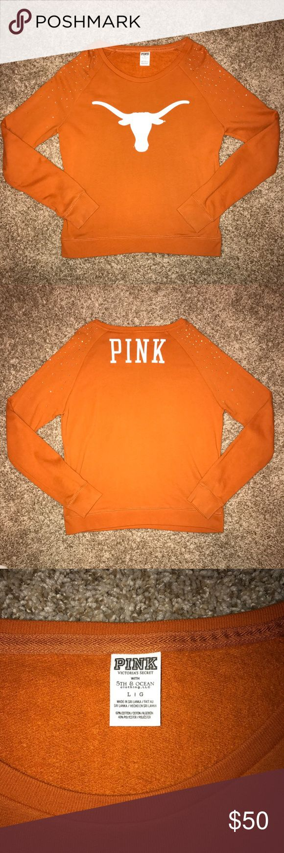 VS PINK UT University of Texas Longhorns Sweater New without tags. Bling on the shoulders. PINK Victoria's Secret Sweaters Crew & Scoop Necks