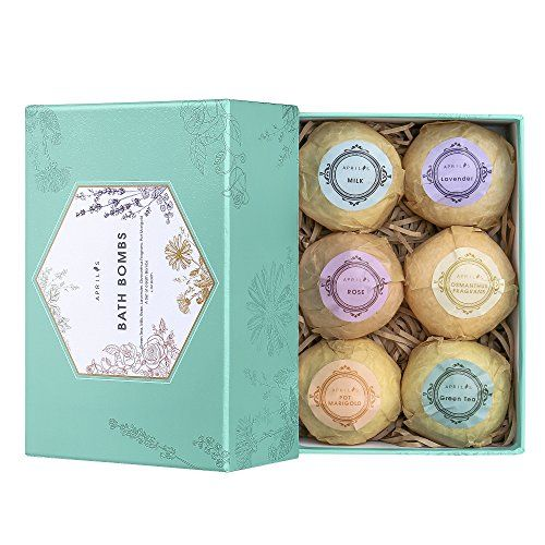 Aprilis Bath Bombs Gift Set Organic and Natural Bath Bomb Kit Lush Fizzy Spa to Moisturize Dry Skin Best Gift Ideas for Women Girlfriend and Kids Must-have Bath Products 6 x 4.0 oz