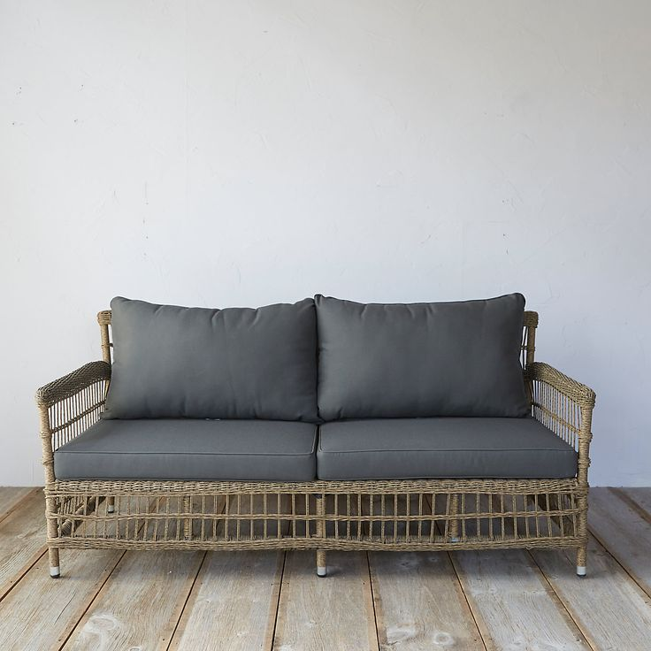 Trellis Weave All Weather Wicker Sofa Outdoor Fabric Outdoor Seating And Soaps