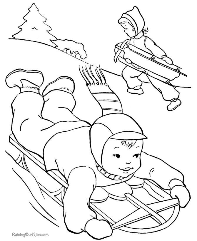 Winter sledding picture to color