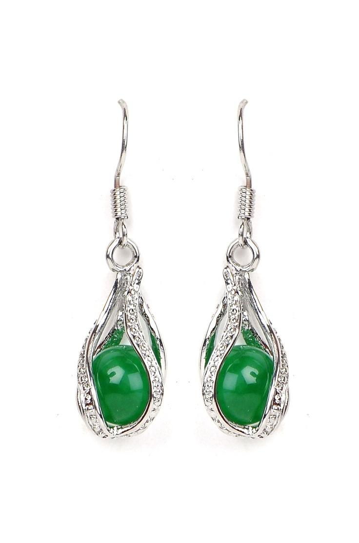 Green Piece Eaarings @ www.juvalia.in