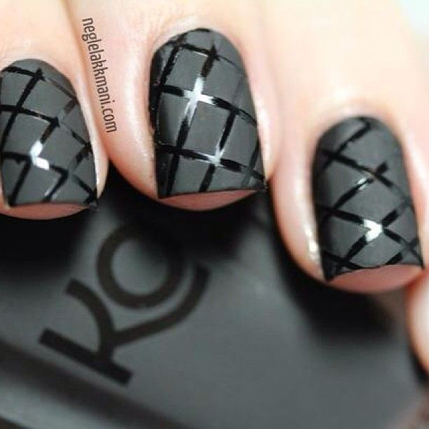 Pretty matte & gloss black cross hatched nails - perfect for your standout nail too or in rich plum for #AW14...x