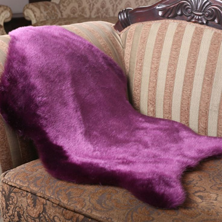 yazi Artificial Wool Met Sheepskin Chair Cover Bedroom Faux Mat Seat Pad Plain Skin Fur Plain Fluffy Area Rugs Purple