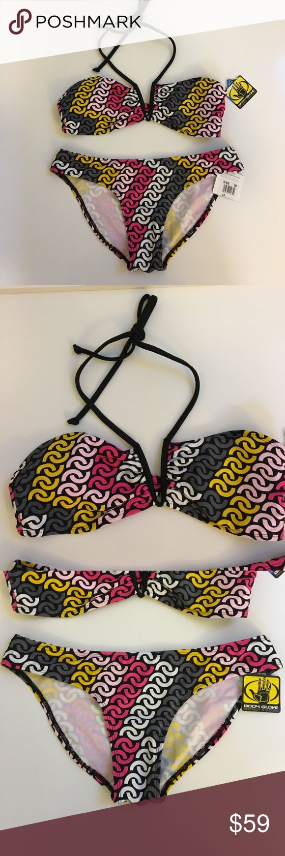 { Body Glove } Bikini Body Glove bikini top has wire at v and sides, light pads that can be removed, latch back and tie around neck. Bottom is slip on and off with medium coverage. Such a fun cute pattern. Body Glove Swim Bikinis