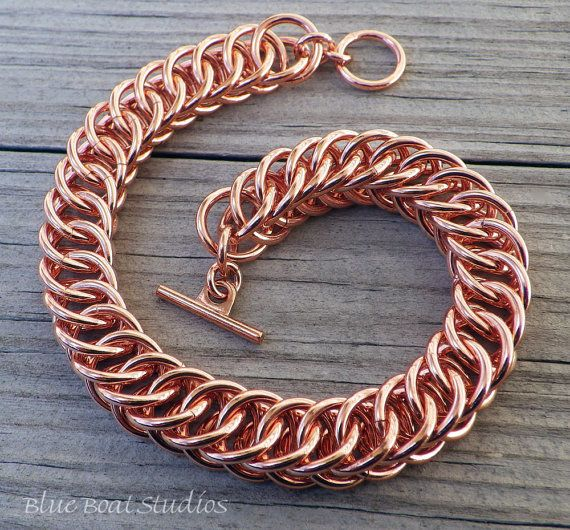 Copper chainmaille bracelet chainmaille jewelry by BlueBoatStudios