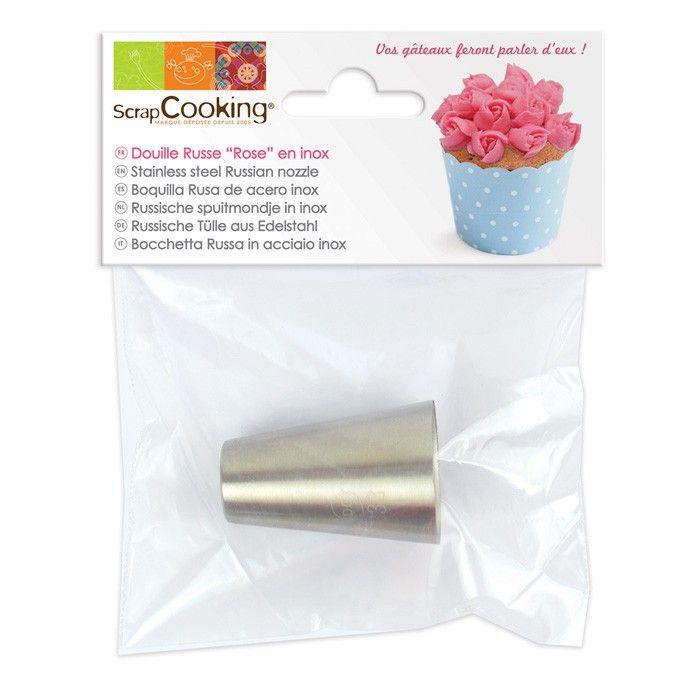 Douille en inox Scrapcooking pour réaliser des glacages en forme de fleurs, plus précisement des petites roses sur vos pâtisseries - Youdoit.fr