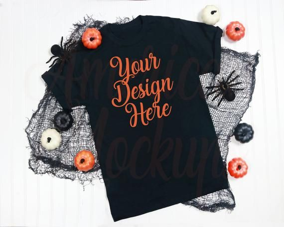 Black Short Sleeve T Shirt On White Background With Halloween Decor Mockup Flatlay Scene Photo Mockup Free Psd Photoshop Mockup Free Free Psd Mockups Templates