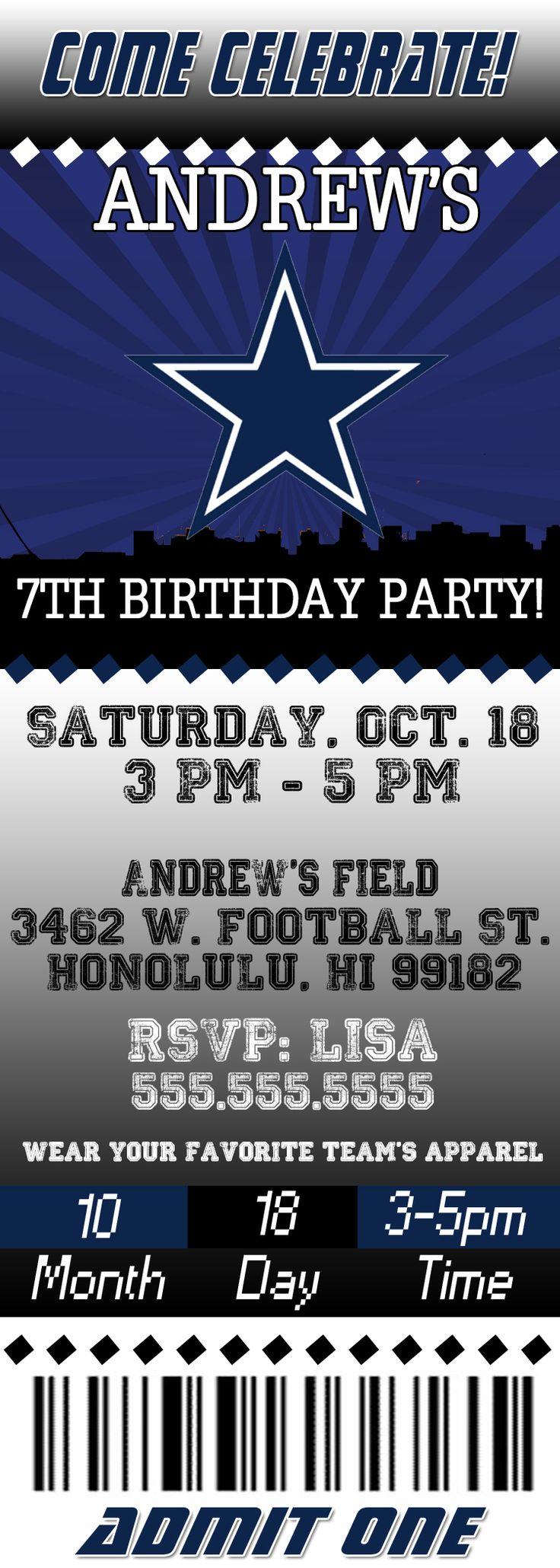 NFL Dallas Cowboys Ticket Birthday Invitation