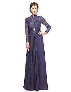 Lanting Bride® Krój A Sukienka dla matki panny młodej - Eleganckie Sięgająca podłoża Długi rękaw Szyfon Koronka  -  Koraliki Koronka Plisy
