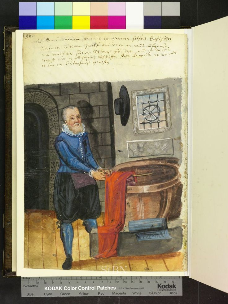 Amb 279.2 ° folio 90 verso 1618 Helfert is in the midst of the room before the big dyeing vat with a wooden stick and gets the red colored cloth from the boiler. Next to it on the shelf banking blue-colored cloth.