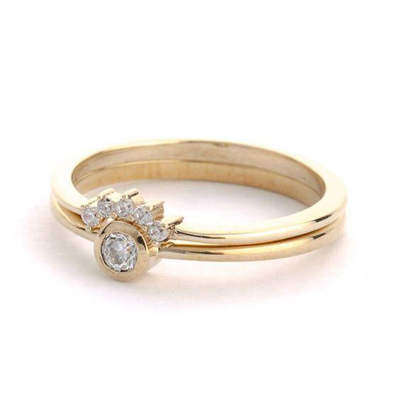 Diamond Wedding Ring Set Diamond Engagement Ring Curved