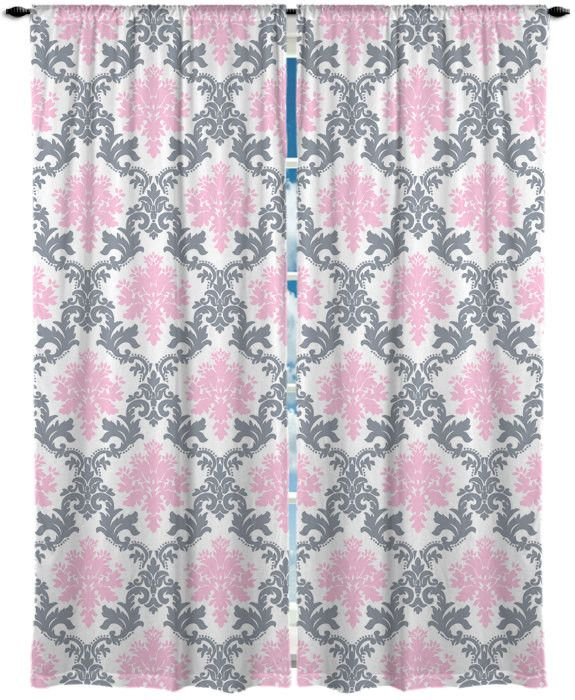 Damask Pink and Grey Window Curtain