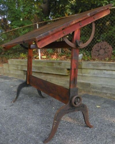 Vintage DRAFTING TABLE Antique By A. LIETZ Made Of MAPLE U0026 CAST IRON