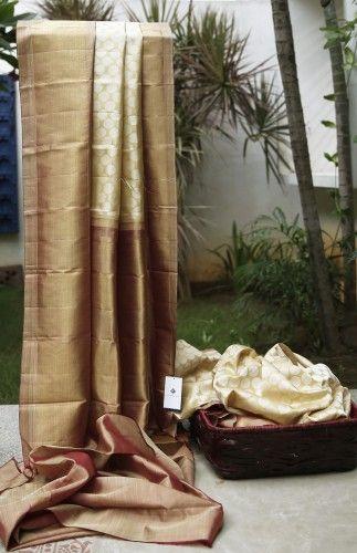 Lakshmi Handwoven Kanjivaram cream n rust