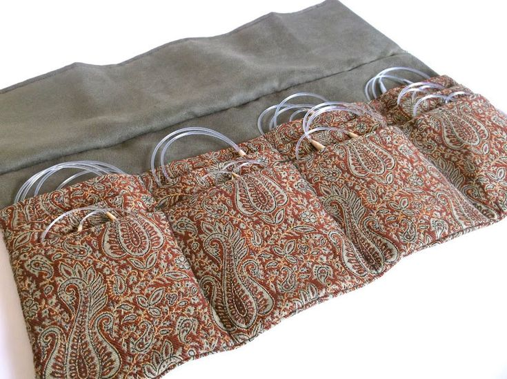 Circular Knitting Needle Case Woven Paisley Fabric Deluxe Gift for Knitter