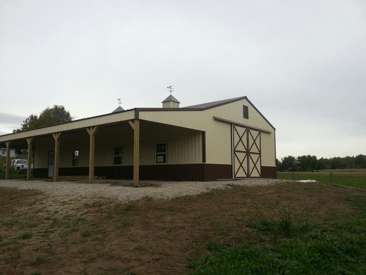 30x60x12 Horse Barn with 15x60 Shed www.nationalbarn.com