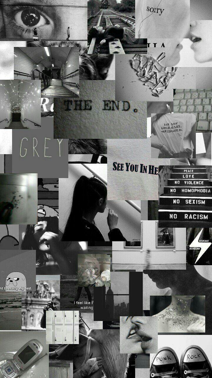 lock screen black aesthetic collage wallpaper
