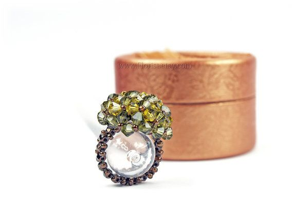 on sale 50%  Beaded Swarovski Crystal Ring by JewelrybyFlorist