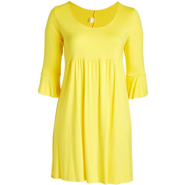 GLAM Yellow Ruffle-Sleeve Empire-Waist Dress ($20) ❤ liked on Polyvore featuring plus size women's fashion, plus size clothing, plus size dresses, plus size, long sleeve ruffle dress, frill sleeve dress, plus size long dresses and long yellow dress