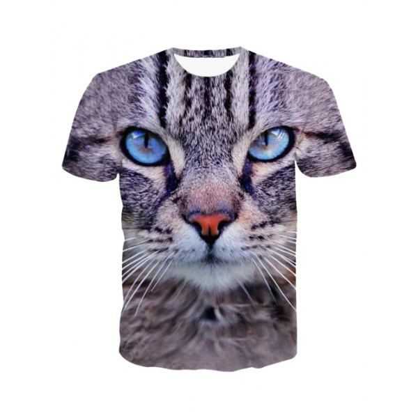 $10.65 3D Round Neck Leopard Head Print Short Sleeve T-Shirt For Men