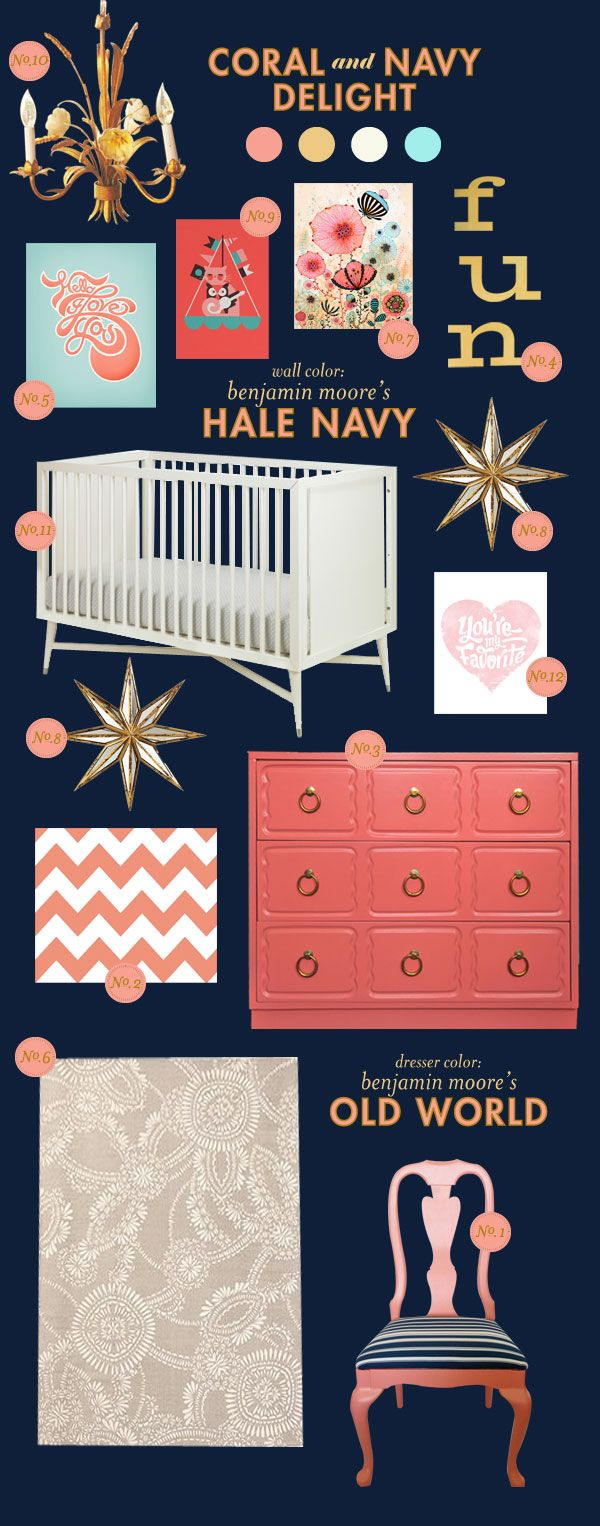 Funny to see this as I painted my girls nursery navy blue... I loved The way it created a rich background for the corals, yellows and turquoise accents.