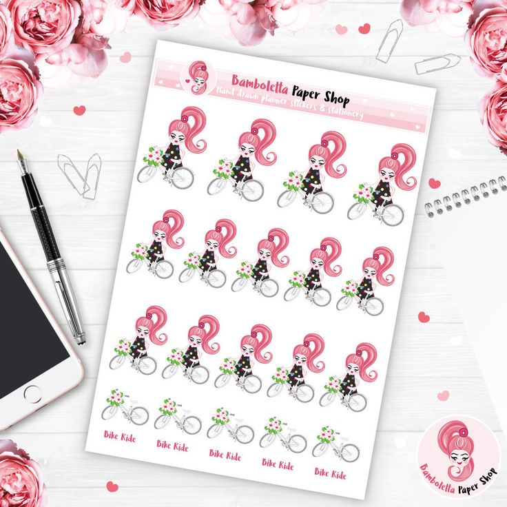 Bike Ride Kawaii planner stickers, Biking stickers for planner, Bike stickers for happy planner, erin condren, personal planner, Bamboletta by BambolettaPaperShop on Etsy