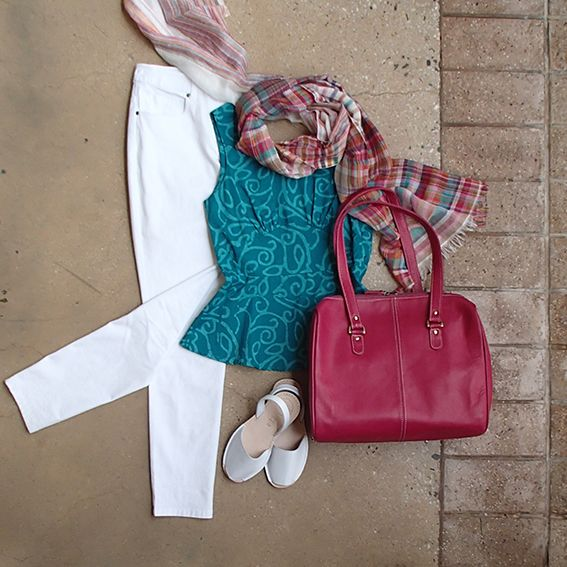 White skinny leg Saints & Lovers jeans are a classic! Add pizazz with a Global Mamas peplum top, lipstick pink Leather Cargo Zoe bag, Alohas sandals & bright linen scarf