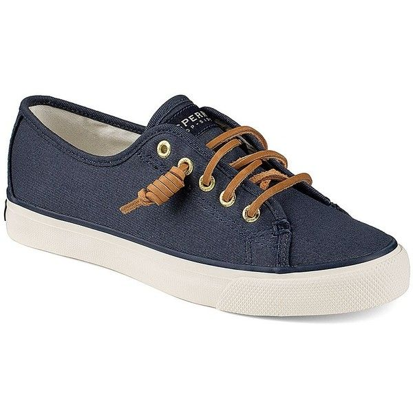 Sperry Women's Seacoast Canvas Sneakers ($50) ❤ liked on Polyvore featuring shoes, sneakers, seacoast navy, navy blue sneakers, deck shoes, navy blue leather sneakers, sperry shoes and lace up sneakers