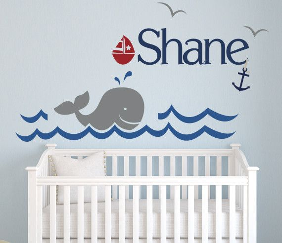 Nautical Whale Name Wall Decal By LovelyDecals Check it out!!