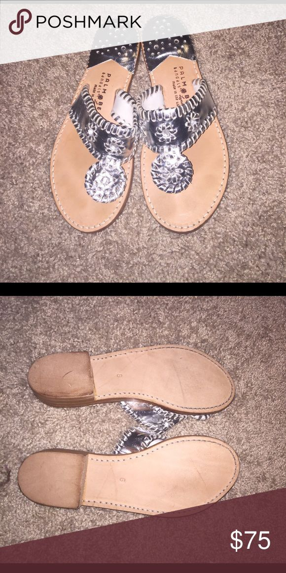 Silver Palm Beach Sandals Worn once! I just don't wear silver! Willing to tr @ de for the gold ones! These are Palm Beach Sandals not Jack Rogers. They are sooo much more comfortable than Jacks! Jack Rogers Shoes Sandals