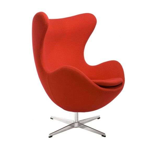 Egg chair designed by Arne Jacobsen in 1958     It's steel frame, high curved back and rounded bottom gives it great volume and works well in open modern spaces with high ceilings, like a loft or a library (excerpt from home-designing.com's article: Modern Classic Chairs)