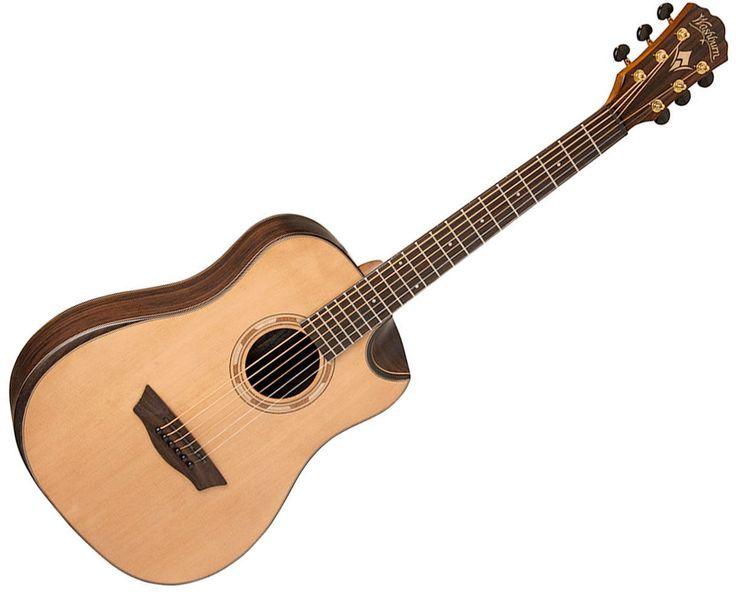 Washburn WCDM25SK Comfort Series Dreadnought 6-String Acoustic Guitar  Natural