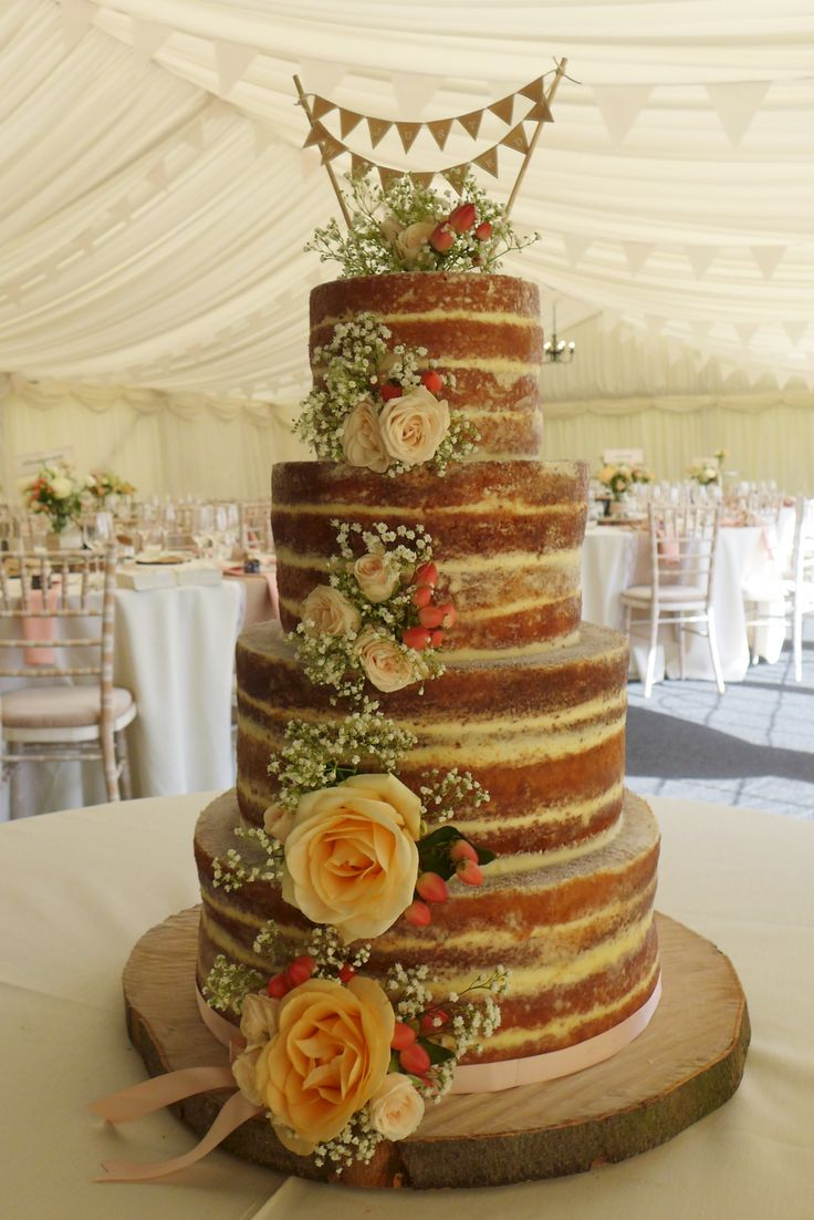 Neat finish rustic naked wedding cake with peach and cream roses. Wedding   Cemlyn Cakes   Portishead   Church Stretton