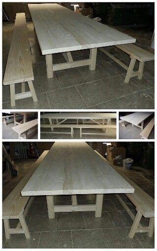 Mesa de 4 m con 4 bancos en madera de abeto y norte