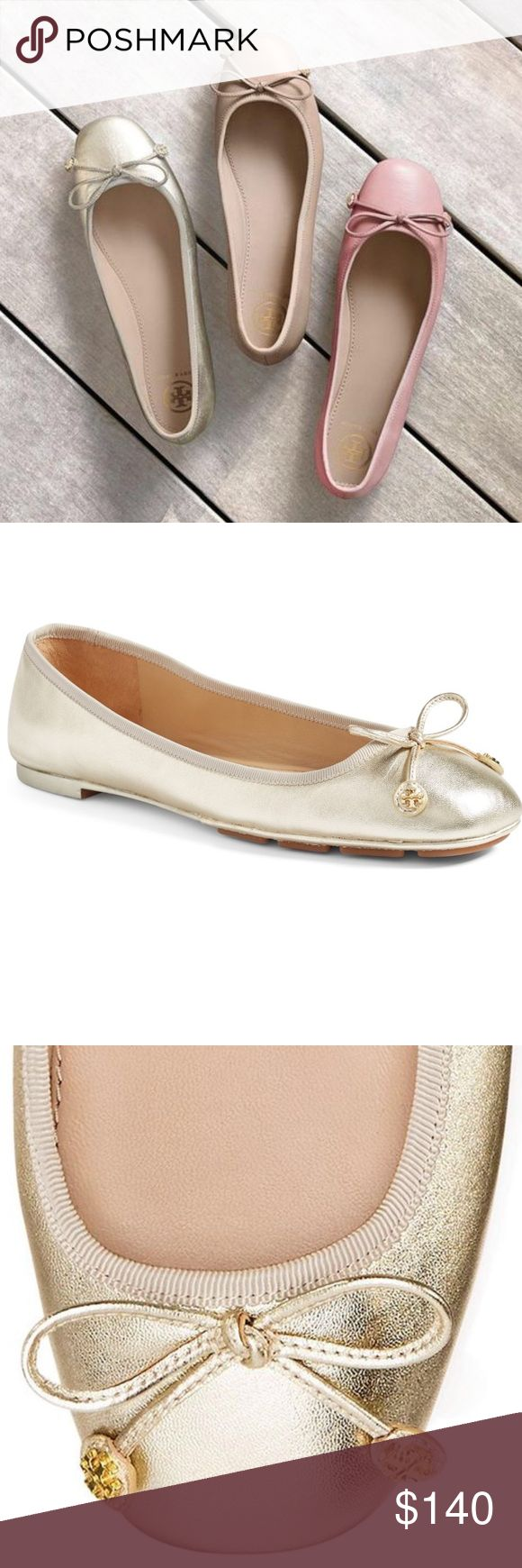 TB 'Laila' Ballet Flats Metallic gold ballet shoes with the comfort and traction of a driver shoe (rubber pods at the front of sole). 7.5 Fits true to size. New in box, never worn. Tory Burch Shoes Flats & Loafers
