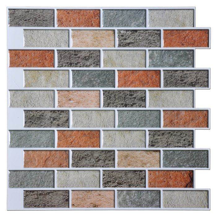 12 X 12 Pvc Peel Stick Mosaic Tile In Gray Orange Peal And Stick Backsplash Peel And Stick Tile Kitchen Tiles Backsplash
