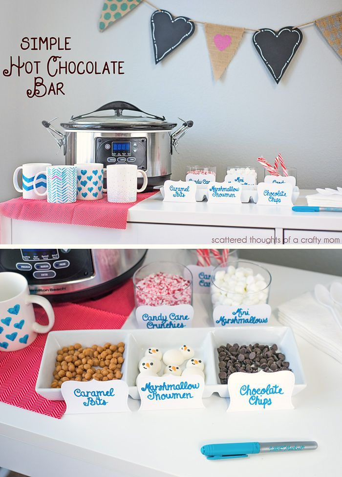 Simple ideas and tips to make your own DIY Hot Chocolate Bar #hotchocolatebar #partyideas #hotchochocolate
