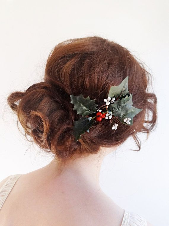 Christmas hair clip, holly and ivy hairpiece,