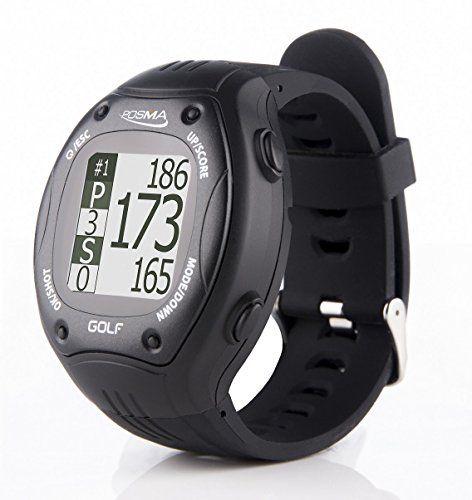 UK Golf Gear - POSMA GT1 Golf Trainer GPS Golf Watch Range Finder, Preloaded Golf Courses no download no subscription, Black, courses incl. US, UK, Espana, France, Italy, Finland, Canada, Europe, Australia, New Zealand etc