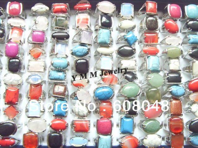 Смесь серия мужская кольца естественные каменные кольца мода ювелирных изделий бесплатная доставка 50 шт. оптовая продажа