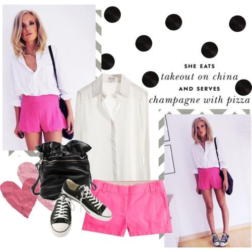 pink scalloped shorts